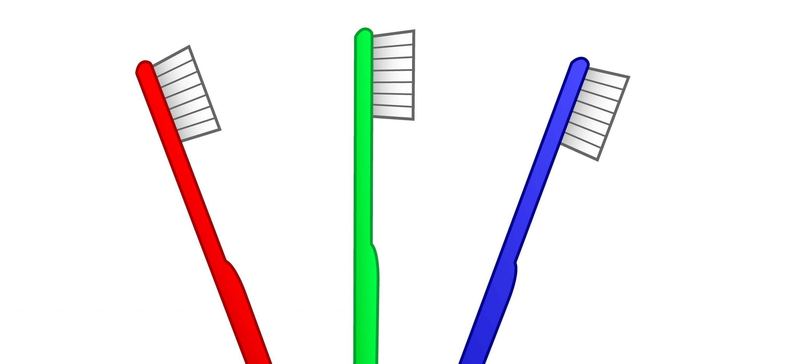 οδοντόβουρτσες σε χρώματα κόκκινο, μπλε και κόκκινο